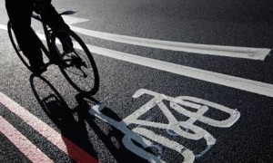 Cyclist in bike lane