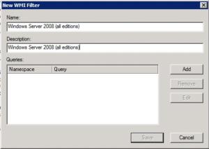 New WMI Filter dialog