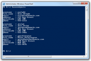 csv powershell user objects