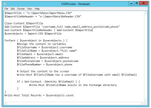 powershell import csv get contact script
